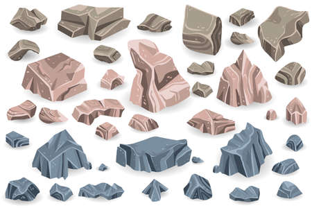 Stone rock vector rockstone of rocky mountain in Rockies mountainous cliff with stony geological materials and stoniness minerals illustration set isolated on white background Vettoriali