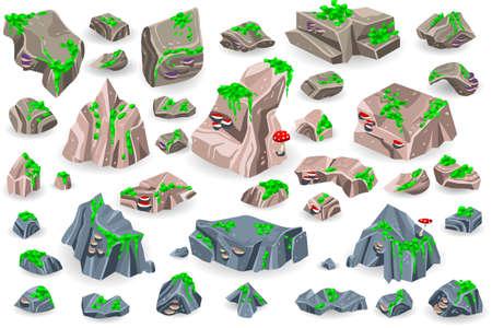 ロッキー山脈の岩山の石岩ベクトル岩岩岩岩岩岩岩岩岩岩岩岩岩岩岩岩岩岩岩岩岩岩岩岩岩岩岩岩と石質地材とストーニネスミネラルイラストセッ  イラスト・ベクター素材