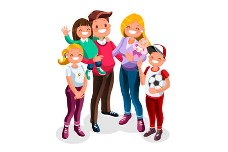 Happy hours of kids with dad and mom. Minimal people character vector illustration flat design