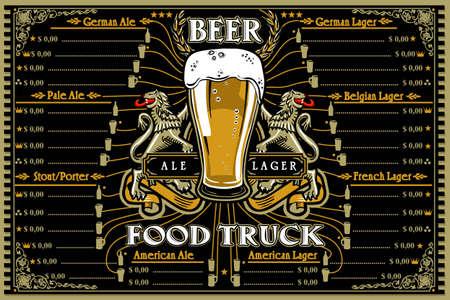 Beer food truck menu with logo. Hipster advertise layout with german french american stout porter pale ale lager beer. Us design vector illustration. Ilustração