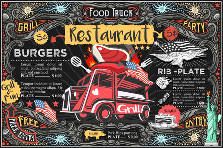 Food truck menu with logo. Hipster advertise layout. Us vector design.