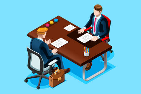 Interviewing job search. Flat isometric design vector illustration.