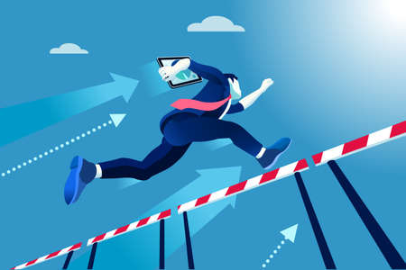 Business man jumping over obstacles, a manager race concept.