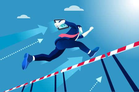 Bedrijfs mens die over hindernissen, een concept van het managerras springt.