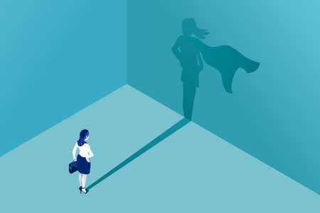 Businesswoman with superhero shadow vector concept. Business symbol of emancipation ambition success motivation leadership courage and challenge.