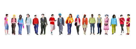 Multi-etnische groep mensen vectorillustratie.