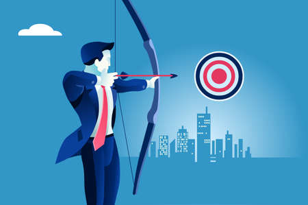 Success, businessman aiming target. Concept business vector illustration. Illustration