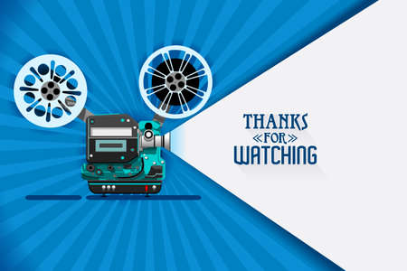 Cinema movie title screen concept. Thanks for watching. Vector design with retro looking movie projector with film reels and projecting beam as copy space container. Video clip vector illustration Stock Illustratie