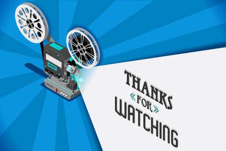 영화 영화 제목 화면 개념입니다. 영화 릴 및 복사 공간 컨테이너로 투사 빔 복고풍 찾고 영화 프로젝터와 벡터 디자인. 비디오 클립 벡터 일러스트 레