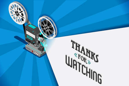 Cinema movie title screen concept. Vector design with retro looking movie projector with film reels and projecting beam as copy space container. Video clip vector illustration Çizim