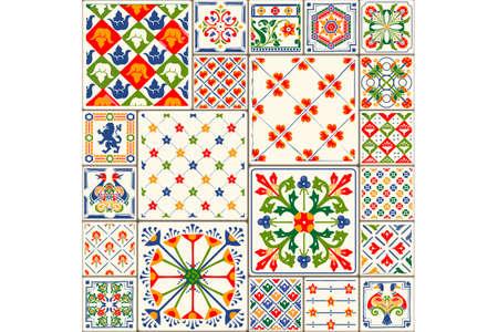Ilustración de azulejos Decoración de azulejos ilustración vectorial. Decoración original de azulejos con motivos de repetición.