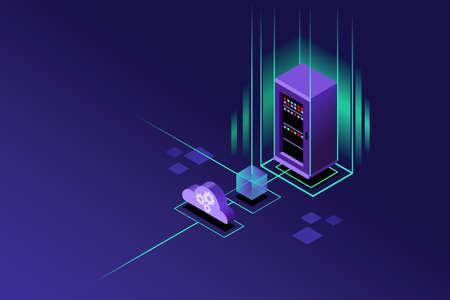 Cloud hosting upload to storage server. Violet crystal background isometric art vector design. Stock Illustratie