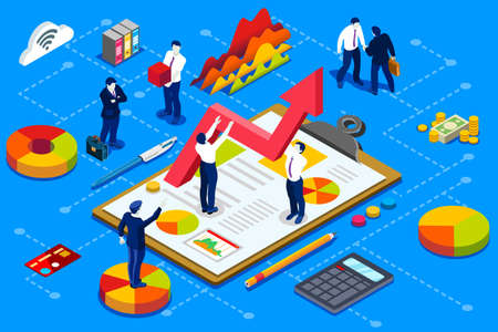 Concepto de administración financiera. Cuenta de empresa financiera con diseño isométrico de documentos vectoriales. Ilustración de vector