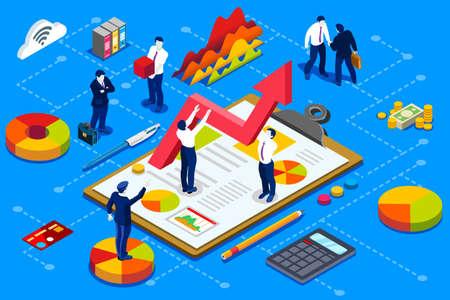 Koncepcja administracji finansowej. Finansowe konto firmowe z projektem izometrycznym wektorowym dokumentów. Ilustracje wektorowe