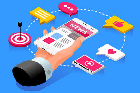 Internet publication web page of press news article. Web concept. Isometric icons vector design. Иллюстрация