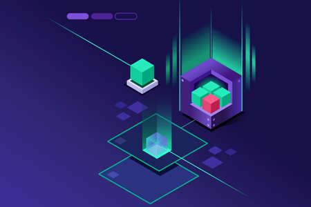 Storage powered hardware concept. Crystal violet concept or idea. Isometric art vector design.