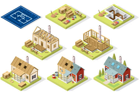 Construction of wood roof and walls structure. Isometric vector design, large set detailed collection.
