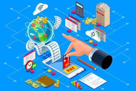 Concepto de facturación o factura en papel para representar el pago web en línea. Comercio electrónico o pago bancario de diseño de vector isométrico de cuenta electrónica.