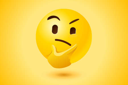 Thinking face with thought expression as vector icon with yellow background. Illustration