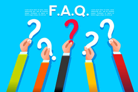 FAQ concept in flat style. Query symbol with question mark. Vector design.