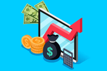 Investment or finance report of income increase. Financial currency earn concept. Isometric design vector illustration. Illustration