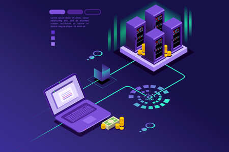 Ewidencja transakcji klienta internetowego. Technologia koncepcji płatności internetowych. Projekt wektor izometryczny plansza.