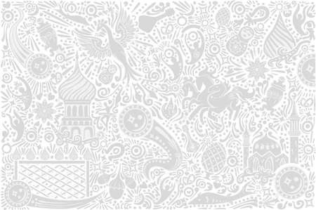 Russian white background world. Russia pattern with modern and traditional elements. 2018 trend vector illustration.