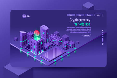 Anonymous payment and cryptocurrency commerce. Vector design. Isometric illustration. Home banking web site template.