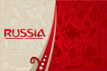Russian red background world. Russia pattern with modern and traditional elements. 2018 trend vector illustration.  イラスト・ベクター素材