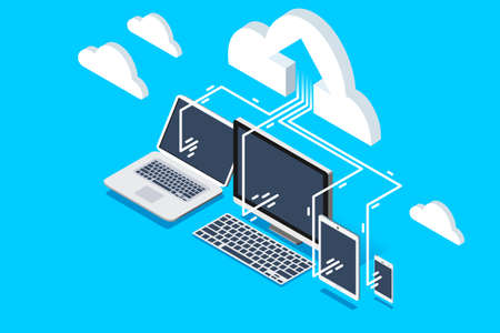 Pc software for upload user data to cloud remote storage. Isometric decorative composition for web site banner. Vector design.