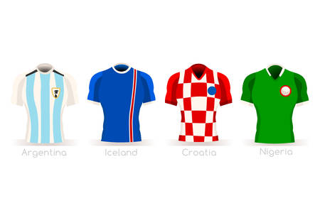 a group of players with team shirts flags and ball. jersey for referee football vector illustration.