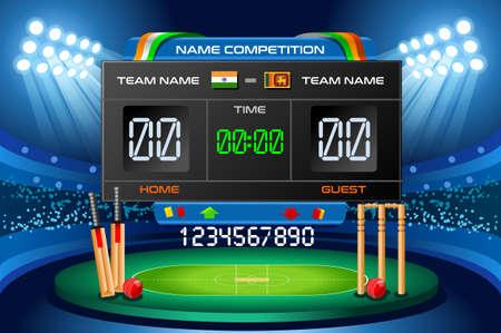 Cricket background with scoreboard. Hitting recreation equipment. Vector design.