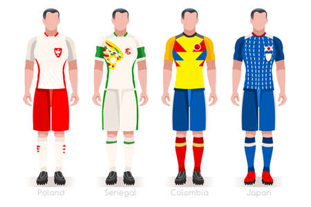 a group of football players team jerseys vector illustration. 向量圖像