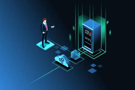 Server storage site for global data upload through wireless technology. Isometric people. Vector illustration. Vektorové ilustrace