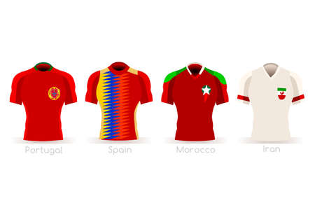 a group of football players team jerseys vector illustration. 向量圖像
