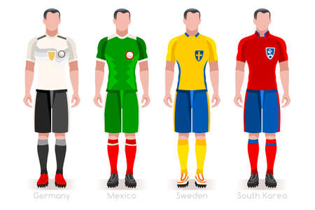 a group of football players team jerseys vector illustration. Stock Illustratie