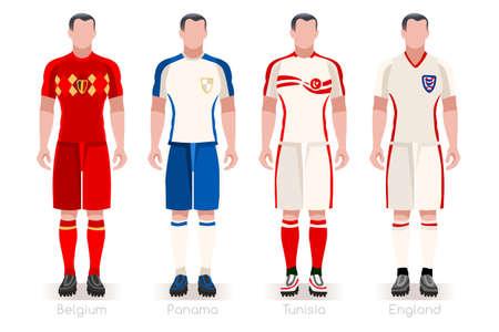 Un groupe de maillots de l'équipe de footballeurs vector illustration. Banque d'images - 97842272