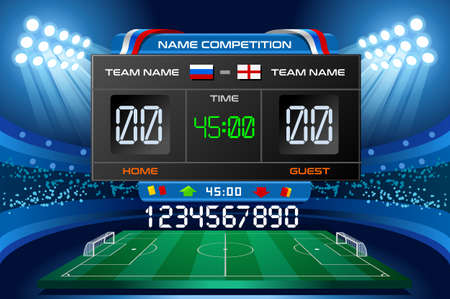 Electronic scoreboard displaying match results. Vector illustration. Vettoriali