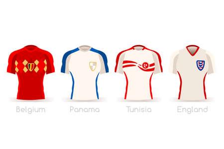 Un groupe de maillots de l'équipe de footballeurs vector illustration. Banque d'images - 97843277