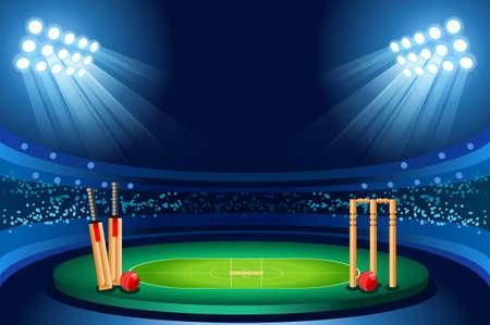 Cricket stadium background. Hitting recreation equipment. Vector design.