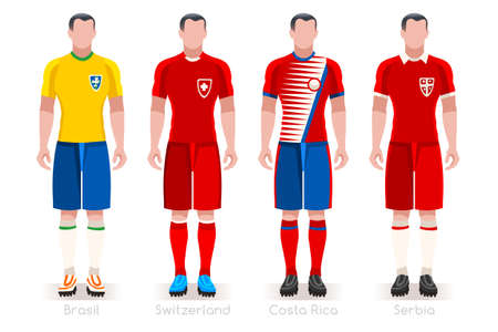 a group of football players team jerseys vector illustration.  イラスト・ベクター素材