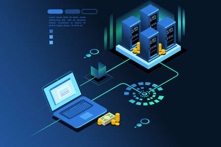 Storage station hardware to save user digital data. Database concept. Isometric icon. Vector graphic design. 向量圖像