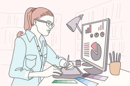 Designer artist clip art backdrop a soft monotone doodle emotional vector illustration.