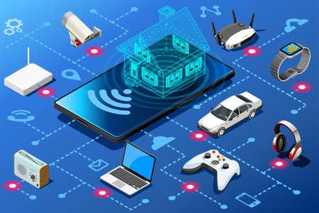 Dispositivo móvil como panel de control de energía en el hogar. Eficiencia concepto abstracto infografía isométrica ilustración vectorial diseño.