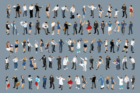 Illustration of a large set of people on a grey background
