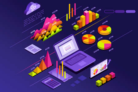Isometric design with a laptop, charts and graphs