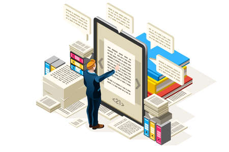 Illustration of a man reading text on a tablet surrounded by books Иллюстрация