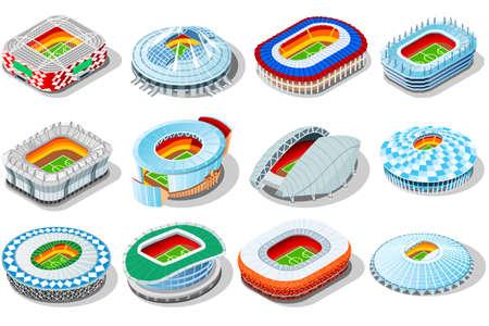 Illustration of a set of soccer stadium buildings.