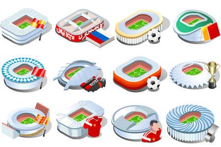 Football stadium icon set collection