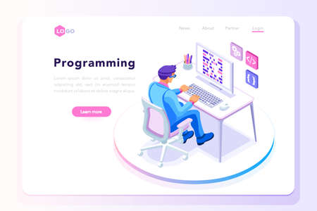 Plantilla de diseño de concepto de programación Ilustración de vector